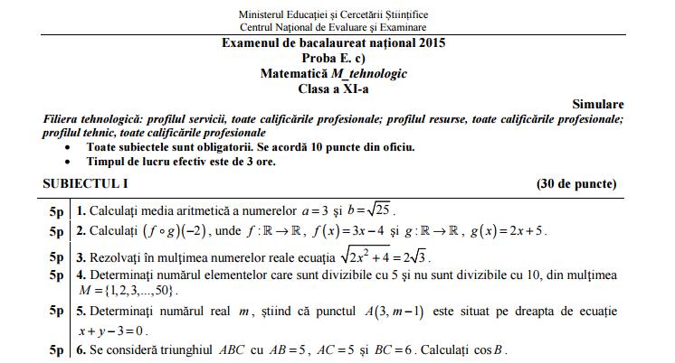 Simulare Clasa A 8 A 2019 Matematica: Rezolvare Simulare BACALAUREAT 2015 Matematica Clasa A 11