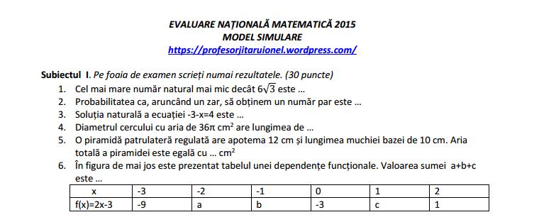 Simulare Clasa A 8 A 2019 Matematica: Clasa A VIII: Model Simulare Evaluare Nationala Matematica
